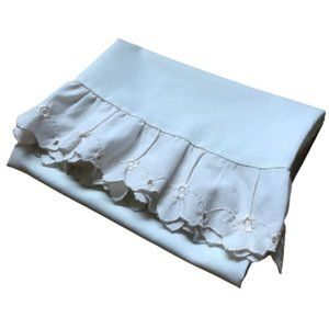 Vintage Beige Floral Embroidery Ruffles Pillowcase